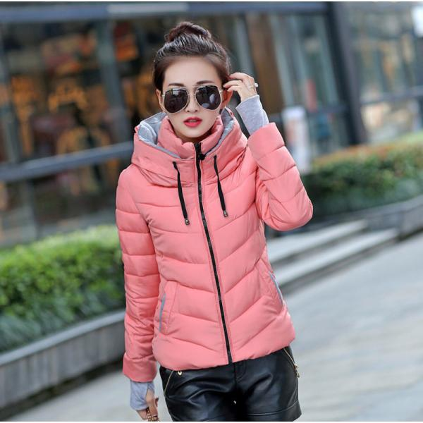 2019 hooded women winter jacket short cotton padded womens coat autumn casaco feminino inverno solid color parka stand collar
